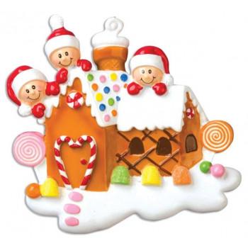 Személyre szabható családi karácsonyfadísz 5 fős családnak